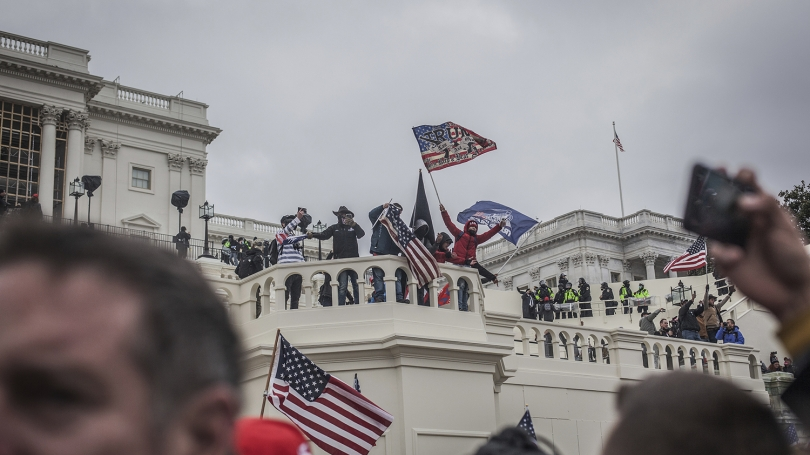 Rioters storm the U.S. Capitol during ratification of the presidential election on Jan. 6.