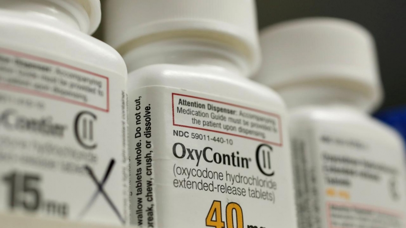 Bottles of the prescription painkiller OxyContin, made by Purdue Pharma, at a Utah pharmacy in April 2017. (George Frey/Reuters)
